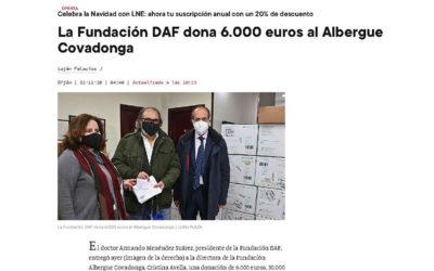 ENTREGA DONACIÓN AL ALBERGUE COVADONGA