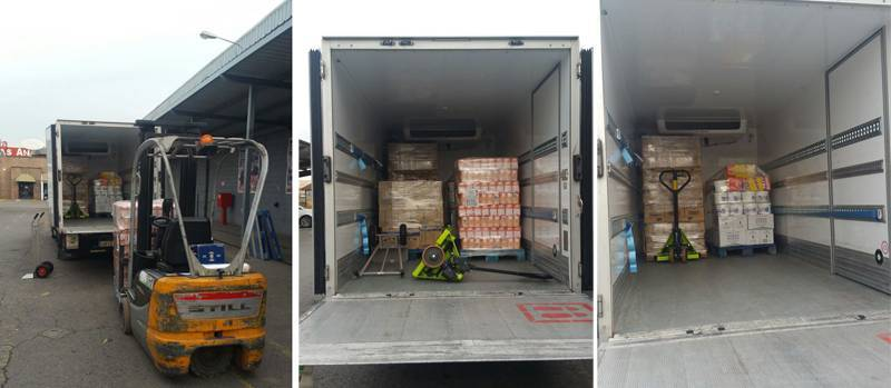 9 pallets of food donated by the Foundation DAF and Makro