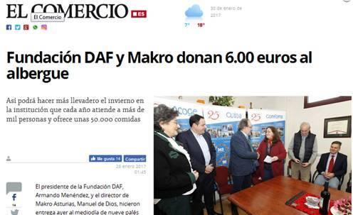 Fundación DAF y Makro donan 6.00 euros al albergue