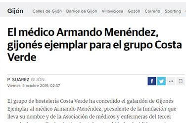 El médico Armando Menéndez, gijonés ejemplar