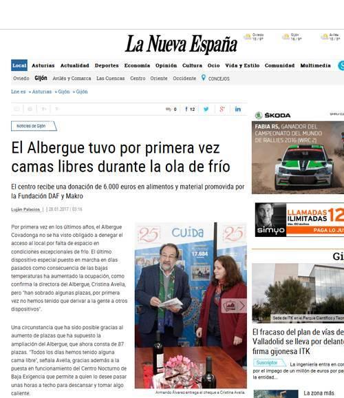 DAF entrega 6.000 € al albergue Covadonga