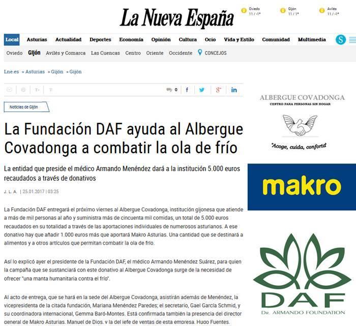 La Nueva España: DAF ayuda al Albergue Covadonga