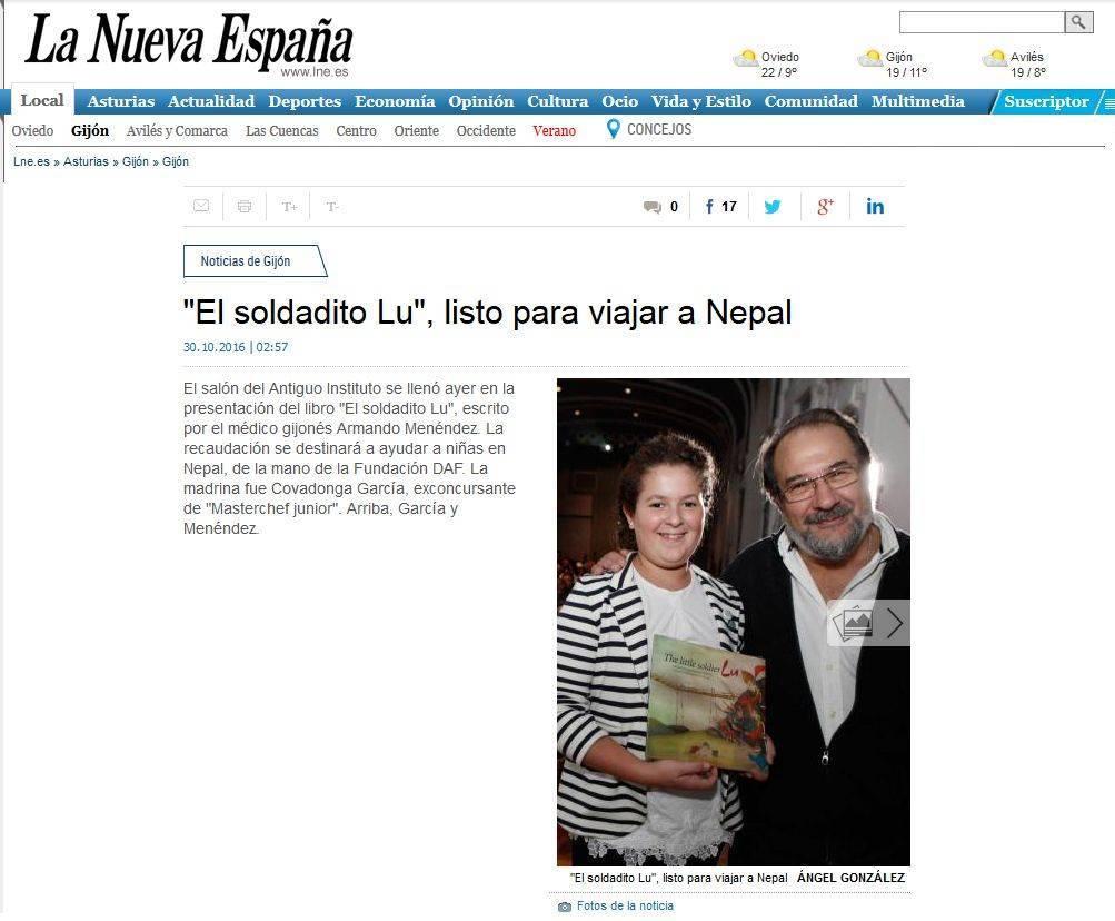El soldadito lu listo para viajar a Nepal-La Nueva España