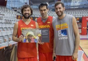Sergio Llull, San Emeterio y Rudy Fernández con DAF