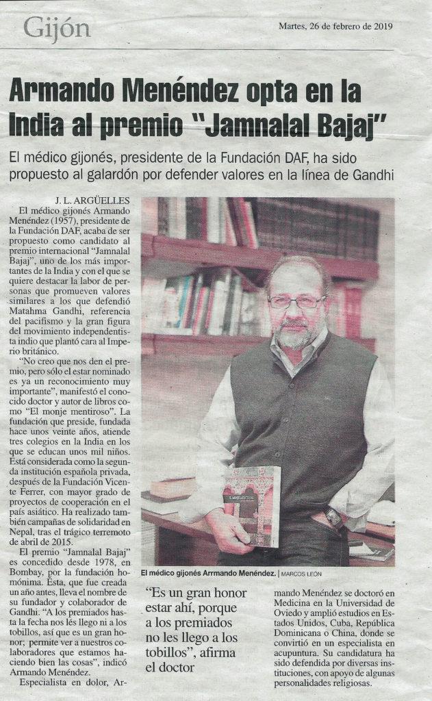 """Armando Menéndez opta en la India al premio """"Jamnalal Bajaj"""""""