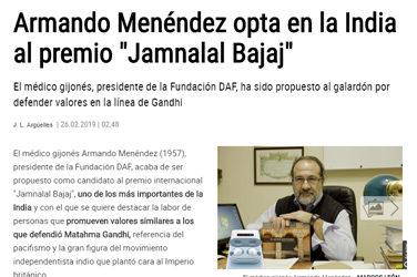 """ARMANDO MENÉNDEZ, NOMINADO AL PREMIO """"JAMNALAL BAJAJ"""""""